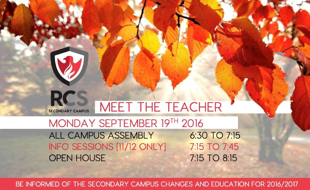 Secondary Meet the Teacher Night Sept 19
