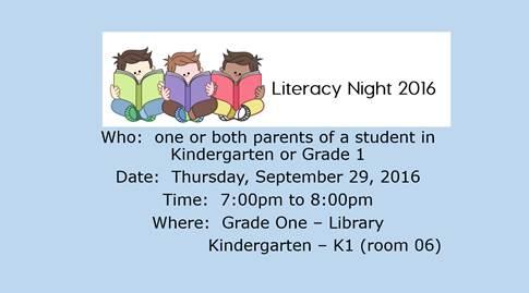 Literacy Night is Thursday