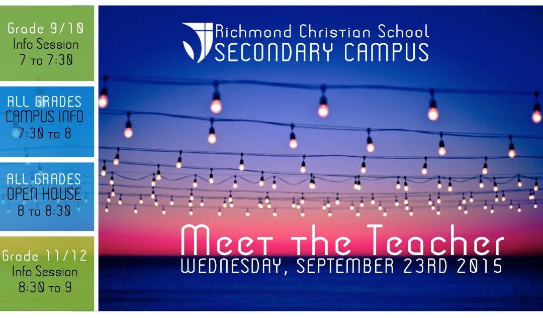 Secondary Meet the Teacher Night is Wednesday