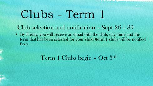 Clubs for Term 1